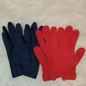 Vintage bundle of two pair of gloves navy and red